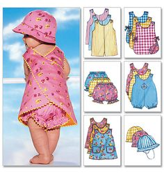 Shop our range of Butterick Sewing Patterns. Get inspired to create with Infants' Romper, Jumper, Panties and Hat Dress Patterns Uk, Hat Patterns To Sew, Baby Patterns, Coat Patterns, Baby Outfits, Patron Butterick, Baby Clothes Sizes, Butterick Sewing Patterns, Baby Romper Pattern