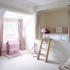 Looking for girls bedroom ideas? A girls' bedroom needs to be a flexible space, accommodating their changing needs from babyhood through to teenage years Casa Kids, Hideaway Bed, Secret Hideaway, Country House Interior, Country Homes, Country Bedrooms, Pink Bedroom For Girls, Built In Bed, Shared Bedrooms
