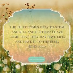 John 10:10 The thief comes only to steal and kill and destroy; I have come that they may have life, and have it to the full. #verseoftheday #CVC #scripture #bible http://www.cobbvineyard.com/