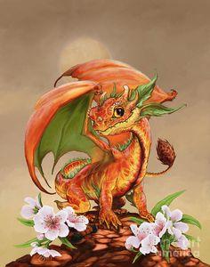 Peach Dragon Digital Art by Stanley Morrison / small dragon / cute dragon / little dragon / fantasy creature Tiny Dragon, Little Dragon, Magical Creatures, Fantasy Creatures, Little Buddha, Dragon Artwork, Dragon Pictures, Pictures Of Dragons, Cute Dragons