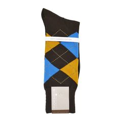 Florsheim Argyle Socks in Brown, Yellow, and Blue