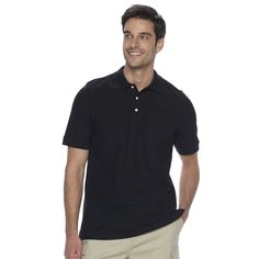 Men's Croft & Barrow® True Comfort Classic-Fit Pocket Pique Performance Polo, Size: XL, Black
