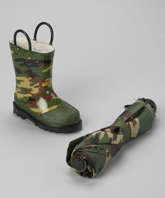 Take a look at this Olive Camo Rain Boot & Umbrella by Western Chief on #zulily today!