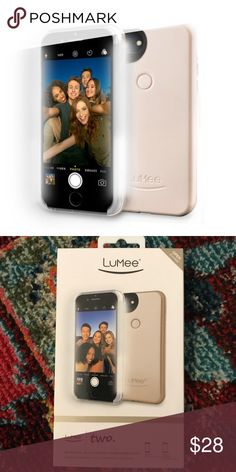 Gold Lumee Two Selfie Case Developed by a professional photographer, this durable case provides warm, natural light that lets your capture each moment the way you want to remember it.  Cushioned protective corners Front LED strips Raised soft TPU edges On/Off dimmer switch Compatible with iPhone 6 Plus/6S Plus/7 Plus Slimmer design 90% brighter LED light Rechargeable battery and charging cord Long lasting battery that works independently of your phone LuMee Accessories Phone Cases