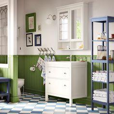 Armario para lavabo HEMNES/ODENSVIK blanco con dos cajones y grifo monomando GRANSKÄR