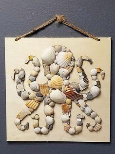 Do a sea turtle Collage-Seashell Octopus-Seashell Collage-Octopus Wall Hanging-Octopus Decor-Octopus Art-Sea Octopus Decor, Octopus Art, Seashell Art, Seashell Crafts, Pista Shell Crafts, Seashell Projects, Sea Crafts, Resin Crafts, Fall Crafts