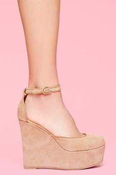 Jeffrey Campbell Bette High Wedge Platform - Camel Perforated Suede