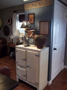 Ice Chest, Old Electric Fans and Antique Samplers