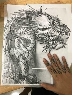 Japanese Dragon Tattoos, Japanese Tattoo Art, Japanese Tattoo Designs, Japanese Sleeve Tattoos, Dragon Tattoo Outline, Dragon Sleeve Tattoos, Dragon Tattoo Designs, Pin Up Tattoos, Body Art Tattoos