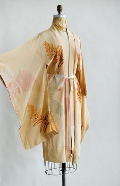 vintage peach silk kimono with fern print