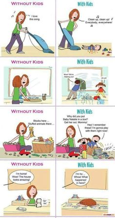 Without & with kids comic strip