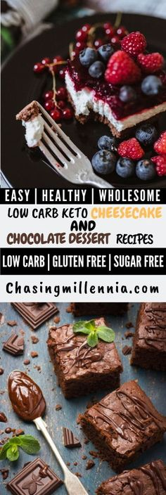 20 Amazing low carbohydrate / KETO dessert recipe without sugar - Lactose Free Diet Sugar Free Cheesecake, Low Carb Cheesecake Recipe, Sugar Free Desserts, Low Carb Desserts, Dessert Recipes, Baking Recipes, Ricotta Cheesecake, Lemon Cheesecake, Chocolate Cheesecake