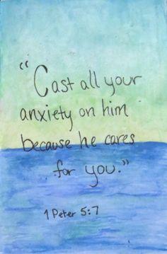 Bible verse - 1 Peter 5:7 Watercolors