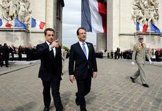 The 2 French Presidents - and I thought that Hollande was tall :O