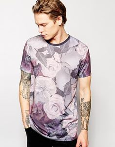 641e33e5 ASOS Longline T-Shirt With Oversized Rose Print And Relaxed Skater Fit Long  A Line