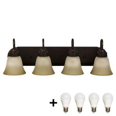 Bennington 620A04ORB-A19 Luna Four Globe Bathroom Vanity Light Bar Bath Fixture, Oil Rubbed Bronze   Bulbs