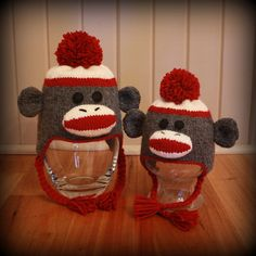 Sock Monkey Ear Flap Hats for the Whole Family by Nicole Montgomery