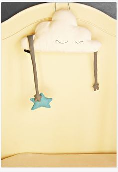 DIY - Cloud shaped pillow stuffed toy plush hand softie twinkle star handmade stuffed cloud white blue. Nursery room decor 16'' (41cm)