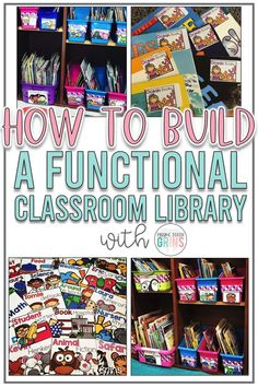 Build and create a functional and organized classroom library so that your students will always find the books they are wanting and are able to put them back in the right place. Learn how to make it a place they will never want to leave! Class Library, Reading Library, Kids Reading Books, Classroom Library Labels, A Classroom, Classroom Design, Classroom Resources, Future Classroom, Book Hospital