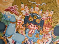 Wrathful deities are realised Buddhas, Bodhisattvas and protectors that manifest in a fierce form in order to liberate beings from samsara. They symbolise the dynamic activity of enlightenment. Their practices are a powerful means to tame and protect one's mind.