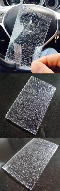 Creative Intricately Patterned Clear Plastic Business Card design