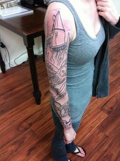 Hogwarts, Hedwig, a Time Turner, a wand, books, a quote, and a spell on it...I WANT A HARRY POTTER SLEEVE