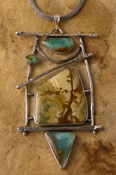 Patricia Reinking Designs, Hand-forged silver pendant set with Oregon rocky butte jasper, Peruvian opals, and turquoise. Stone Jewelry, Metal Jewelry, Pendant Jewelry, Jewelry Art, Silver Jewelry, Jewelry Necklaces, Jewelry Design, Bracelets, Artisan Jewelry