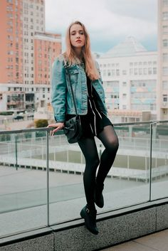 Black and denim: Vest and skirt set, Ankle cut out boots, Bag and Watch - By Anna Pogribnyak - http://ninjacosmico.com/20-grunge-outfit-ideas-may/