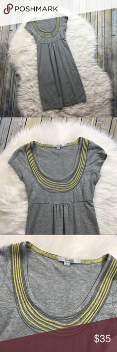 """Boden Grey Yellow Necklace Dress Jersey Knit Very cute & stretchy grey Boden dress. 96% cotton, 4% elastane. Has yellow embroidery around the scoop neckline. Short sleeves. Gently used with no flaws!   Measurements laying flat (without stretching): --Armpit to armpit:16"""" --Length, shoulder to hem:38"""" Boden Dresses"""