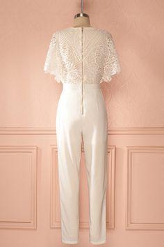 Caesarie - Ivory lace bust jumpsuit