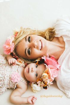 Mommy and me fashion matching flower crowns photo shoot props baby girl birthday photo shoot Like this? You'll love the flower crowns on Londonhadalittlel... #familyphotography