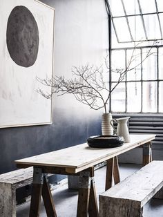 Pia Ulins Studio - N.Y - statement branch nature accent --- modern bohemian boho interior design / vintage and mod mix with nature, wood-tones and bright accent colors / anthropologie-inspired chic mid-century home decor gray