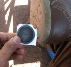 Patch up worn-out soles with a bike repair kit.
