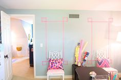 Washi tape wall decoration - might be perfect for my office which is currently full of empty walls...