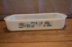 Check out Vintage ATOMIC Blue Heaven Pattern RECTANGLE Shape CASSEROLE. Made by Anchor Hocking. Mid Century Beauty. 1960's. Retro Cool. on gottabuyvintage