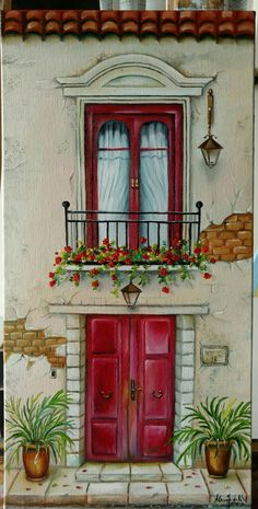 - Best Picture For Decoupage mobili For Your Taste You are looking for Acrylic Painting Canvas, Acrylic Art, Canvas Art, Tole Painting, Watercolor Illustration, Watercolor Paintings, Pintura Tole, Watercolor Architecture, Buch Design