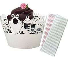 Outside the Box Papers Baby Girl Themed Laser Cut Cupcake Wrappers 48 Count and Stripe and Polka Dot Paper Straws 50 Pack Light Pink, White >>> See this great image @ - Baking tools