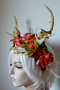 Garden Stag Headdress fantasy wedding bridal by Serpentfeathers