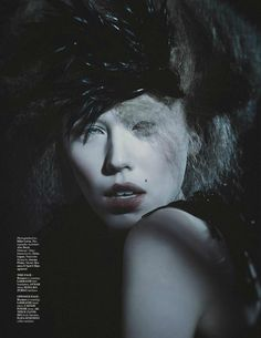 "MOD Magazine - March 2013 ""Winter Moon""    LaKrause Black Crow Headpiece  Makeup/Hair/Nails: Delia Lupan Judy Inc  Styling: Joanna Plisko Red Fashion Styling   Model: Bryanna @Spot6Management   Photography Assistant: Alex Boyd   Photography: Mike Lewis — with Bryanna Johnson."