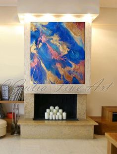 "40""x35"" Earth From Above Modern Abstract Canvas Print by Julia Apostolova"