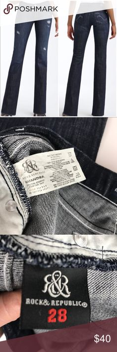 "Rock & Republic Destructed Denim Kassandra Jeans Like new condition in excellent shape with no flaws! Dark wash!   Product Details  PRODUCT FEATURES Destructed & ripped details Pieced inset at the hems 5-pocket FIT & SIZING Inseam: 34"" Waist: 28"" Thigh opening: 18.5""  Midrise sits above the hip Slim bootcut flares slightly from knee to hem Zipper fly FABRIC & CARE Cotton, spandex Machine wash Imported Rock & Republic Jeans Boot Cut"