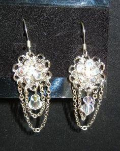 Swarovski Crystal and chain earrings