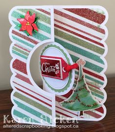 Altered Scrapbooking: A Zentangle Tile and Sparkling Striped Christmas Flip-It Card