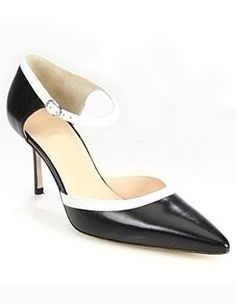 Black Pointed Toe Ankle Strap Patent Leather Womens Mid Heel Shoes