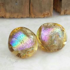 Lampwork Beads Golden Ice Rainbow Nuggets by GlitteringprizeGlass for jewellery making #lampwork #beads #rainbow
