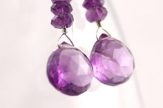 Amethyst Heart Briolette Drop Earrings by RocksMapsandCrafts, $29.00
