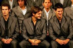 Roger Federer of Switzerland and Novak Djokovic of Serbia during the opening ceremony at the Shanghai Exhibition Center for the Tennis Masters Cup November 8, 2008 in Shanghai, China