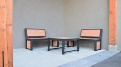 Urban Form Split Back Benches #bench #benches #streetfurniture #design #madeincanada Form, Dining Table, Furniture, Design, Home Decor, Decoration Home, Room Decor, Dinner Table
