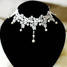 Exquisite Faux Pearl Embellished Tassels Handmade Lace Necklace For Women