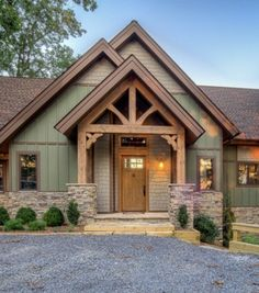 Custom designed, engineered, timber frame entryways and entries, hand made in the USA, by Carolina Timberworks. Learn more. Rustic Houses Exterior, Craftsman Exterior, Cottage Exterior, House Siding, House Paint Exterior, Exterior House Colors, Timber Frame Homes, Timber House, Timber Frames